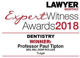 Professor Paul Tipton Expert Witness Awards Winner Dentistry